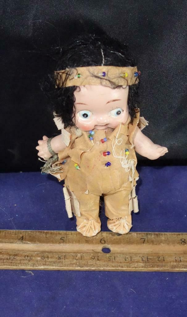 ANTIQUE BISQUE INDIAN DOLL - DOLLY DIMPLE STYLE - GOOGLY EYES Kewpie 4 1 2