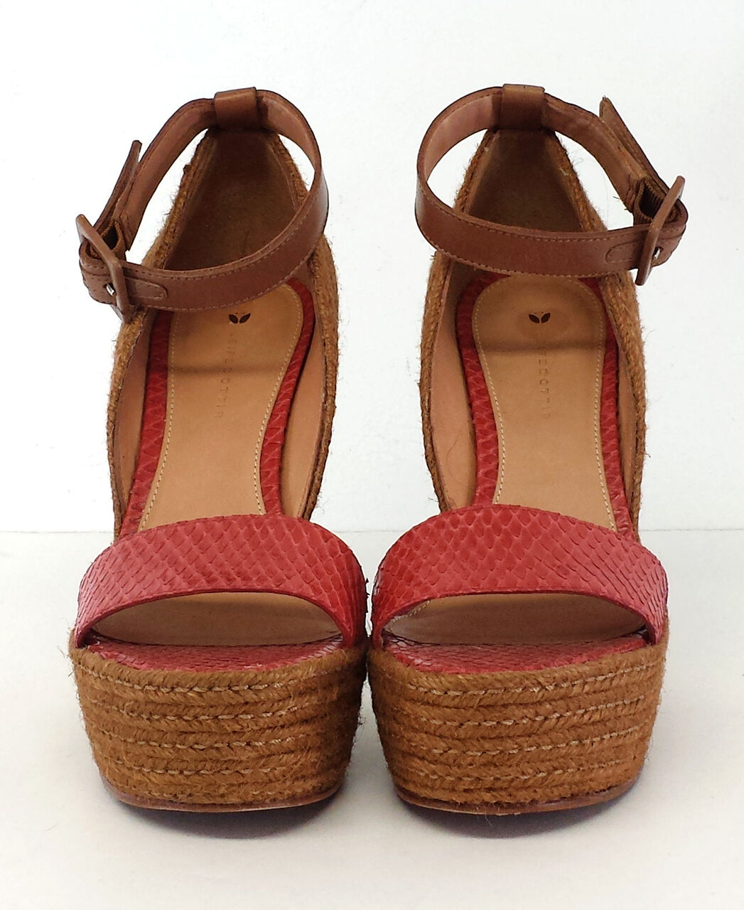 prima i clienti Anthropologie Leifsdottir rosso Snakeskin Leather Leather Leather Curved Wedges Sz 38  shopping online e negozio di moda
