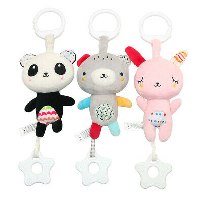 Baby Soft Plush Stuffed Animal Toys With Star Teether Hanging Stroller Sound Toy