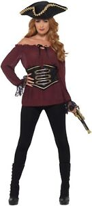 Ladies Deluxe Black White Burgundy Pirate Wench Fancy Dress Costume Outfit Shirt