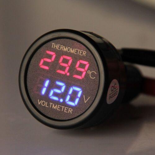 termómetro voltímetro Digital del mechero del coche LED termometro para autos