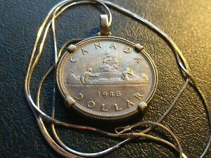 1946-Canada-Rare-Silver-Dollar-Silver-Pendant-20-034-1mm-Italian-Silver-Snake-Chain