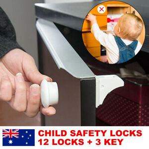 12-Locks-3-Keys-Magnetic-Baby-Child-Infant-Safety-Cupboard-Drawer-Cabinet-Door