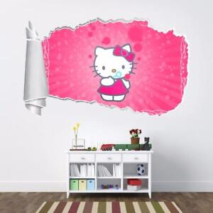 Image Is Loading Hello Kitty 3D Torn Hole Ripped Wall Sticker