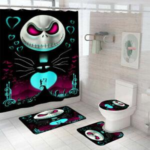 The Nightmare Before Christmas Bathroom Shower Curtain Bath Mat Toilet Lid Cover Ebay
