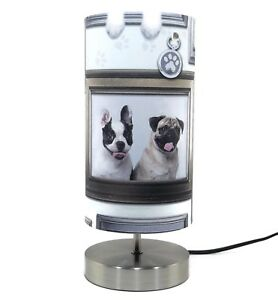Pug dog lamp light lampshade bedside table lamps girls puppy love image is loading pug dog lamp light lampshade bedside table lamps mozeypictures Image collections
