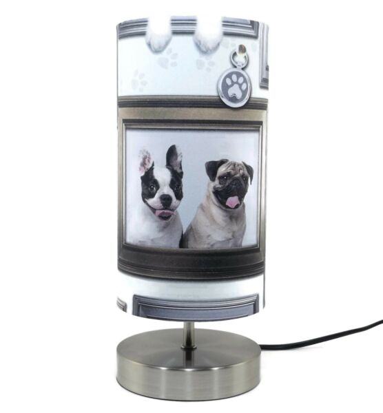Pug Dog Lamp Light Lampshade Bedside Table Lamps Girls Puppy Love ...