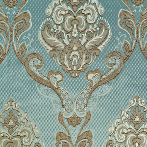 55-034-Wide-Teal-Blue-Drapery-Upholstery-Jacquard-Damask-Fabric-Sold-by-The-Yard