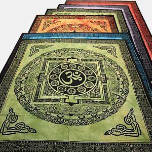 Tagesdecke-Bettueberwurf-Kalachakra-Dekotuch-Yoga-Tibet-Wandbehang-Om-Mantra