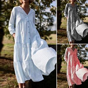 UK-Frauen-Langarm-V-Ausschnitt-Karo-Tiered-Layered-Casual-lose-Kaftan-Pumphose-Kleid