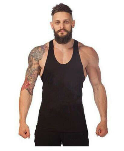 Men/'s Stringer Bodybuilding Fitness Muscle Workout Gym Tank Top Singlet T Shirt