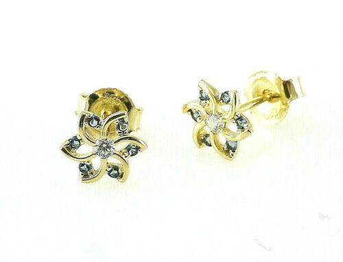 333 Gold 1 Paar Ohrstecker 8 Karat Blume Saphir blau und transparente Zirkonia