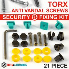 21x NUMBER PLATE CAR Motorcycle FIXING SECURITY SCREWS & CAPS HINGED PLASTIC KIT