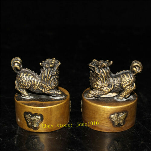 """1.97/"""" Collect Chinese Pure copper Handmade kylin Kirinseal signet stamp A pair"""