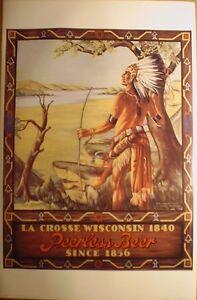 art-print-PEERLESS-BEER-La-Crosse-WI-vtg-repro-Poster-ad-American-Indian-24x36