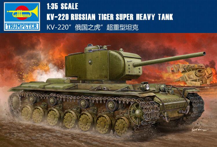 KV-220 RUSSIAN TIGER SUPER HEAVY TANK 1 35 tank Trumpeter model kit 05553