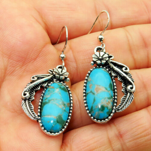 Antique Women 925 Silver Turquoise Gems Engagement Wedding Drop Dangle Earrings