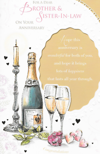Brother and Sister In law Anniversaire Carte 9 x 6 pouces B1 Belle poésie bougie