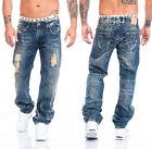 LORENZO Jeans Pantaloni Uomo Denim Aspetto Usato lavaggio strappato BLU ll-2511