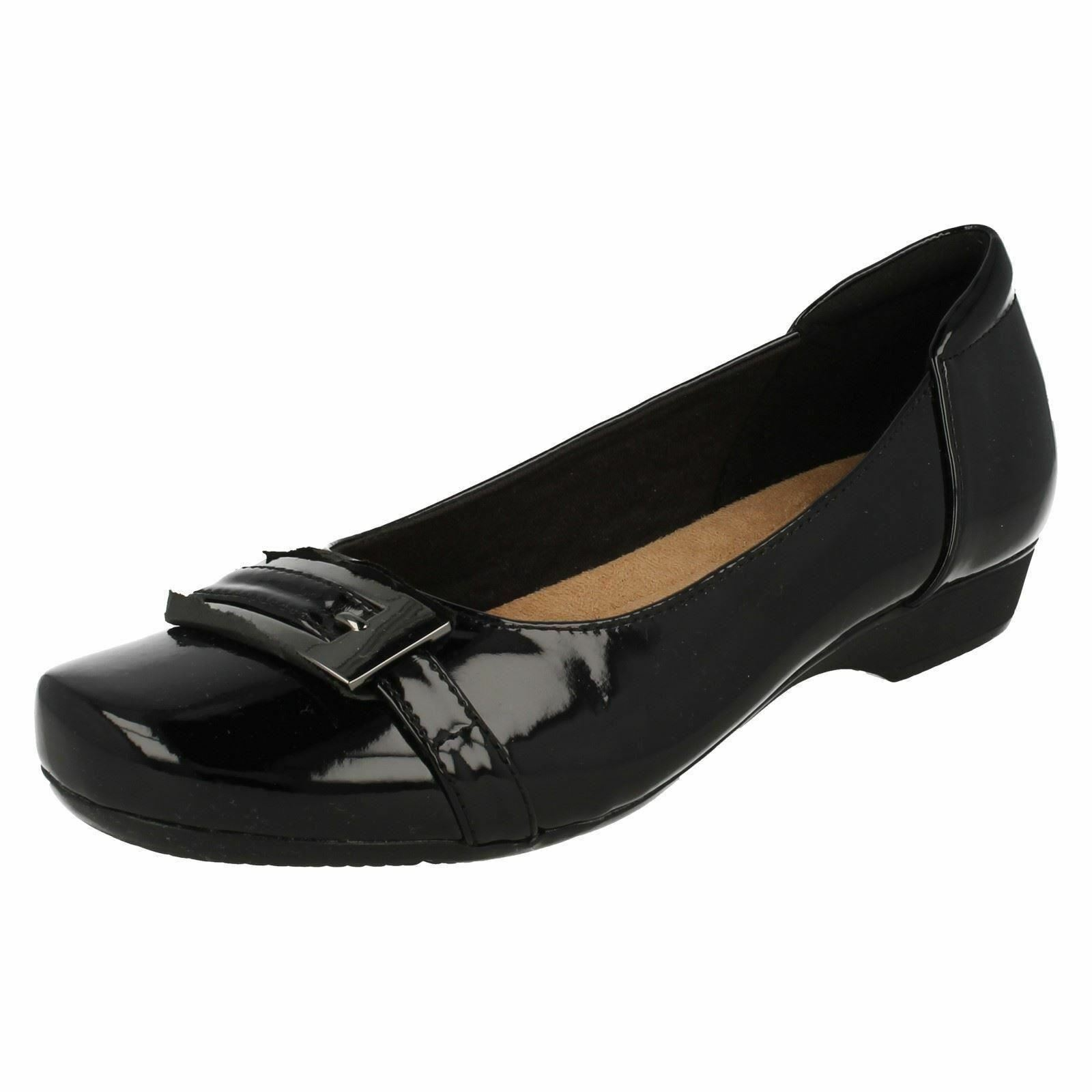 CLARKS LADIES SLIP ON SHOES BLACL PATENT STYLE BLANCHE WEST