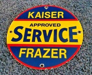 AMERICAN-AUTO-PORCELAIN-VINTAGE-STYLE-KAISER-FRAZER-GAS-SERVICE-STATION-SIGN