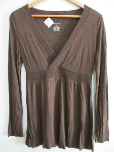 acdef532 Details about MERONA Womens Brown V-neck Long Sleeve Tee Shirt Blouse  Stretch Fitted Top S