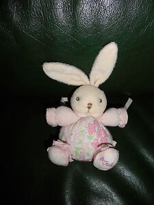 Doudou Kaloo Mini Lapin Lilirose Attache Tetine Rose et Creme 11 cm