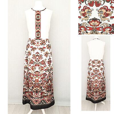 Women/'s Summer Racer Back White Bohemian Floral Maxi Evening Dress SIZE 8-10-12