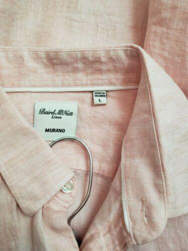 Murano Baird mcnutt Lino Camicia Manica Lunga propagazione-colletto Button Down CORALLO L XL