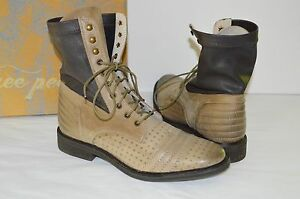 ddced85a816d9 New  178 Free People Sounder Boot Lace Up Tan Brown Leather Boots 10 ...