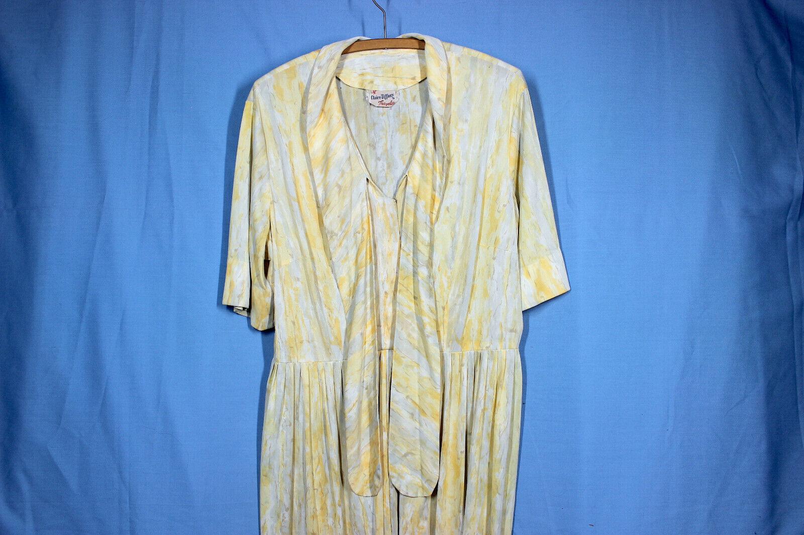 Vtg 60s Knit Dress XXL w37 Plus Shirt Rayon Pussy… - image 6