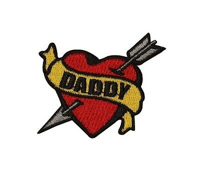Tattoo Art Daddy Heart Arrow Embroidered Iron On Patch FD