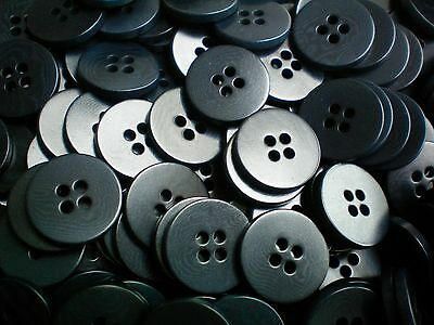 50 x 18mm Size 28L Black Polished 4 Hole Buttons