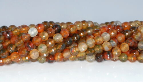 6MM FIREWORKS CRACKLE AGATE GEMSTONE YELLOW BROWN FACETED ROUND LOOSE BEADS 14/""