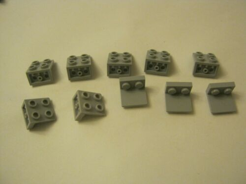 99207 028-94 Lego Lot Of 10 Light Blueish Gray 1x2 2x2 Wall Bracket