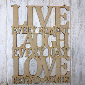 Image Is Loading Mdf Live Laugh Love Wooden Cut Out Plaque