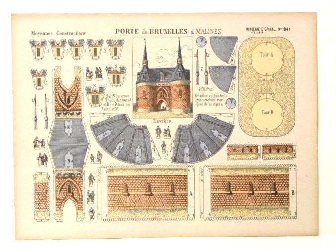 Imagerie d'epinal No841 PORTE DE BRUXELLES, construcciones moyennes modelo de papel