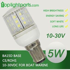 x BA15d 10-30V 5W White LED Bayonet Marine Navigation Signal Bulb BA15d CE 2pcs