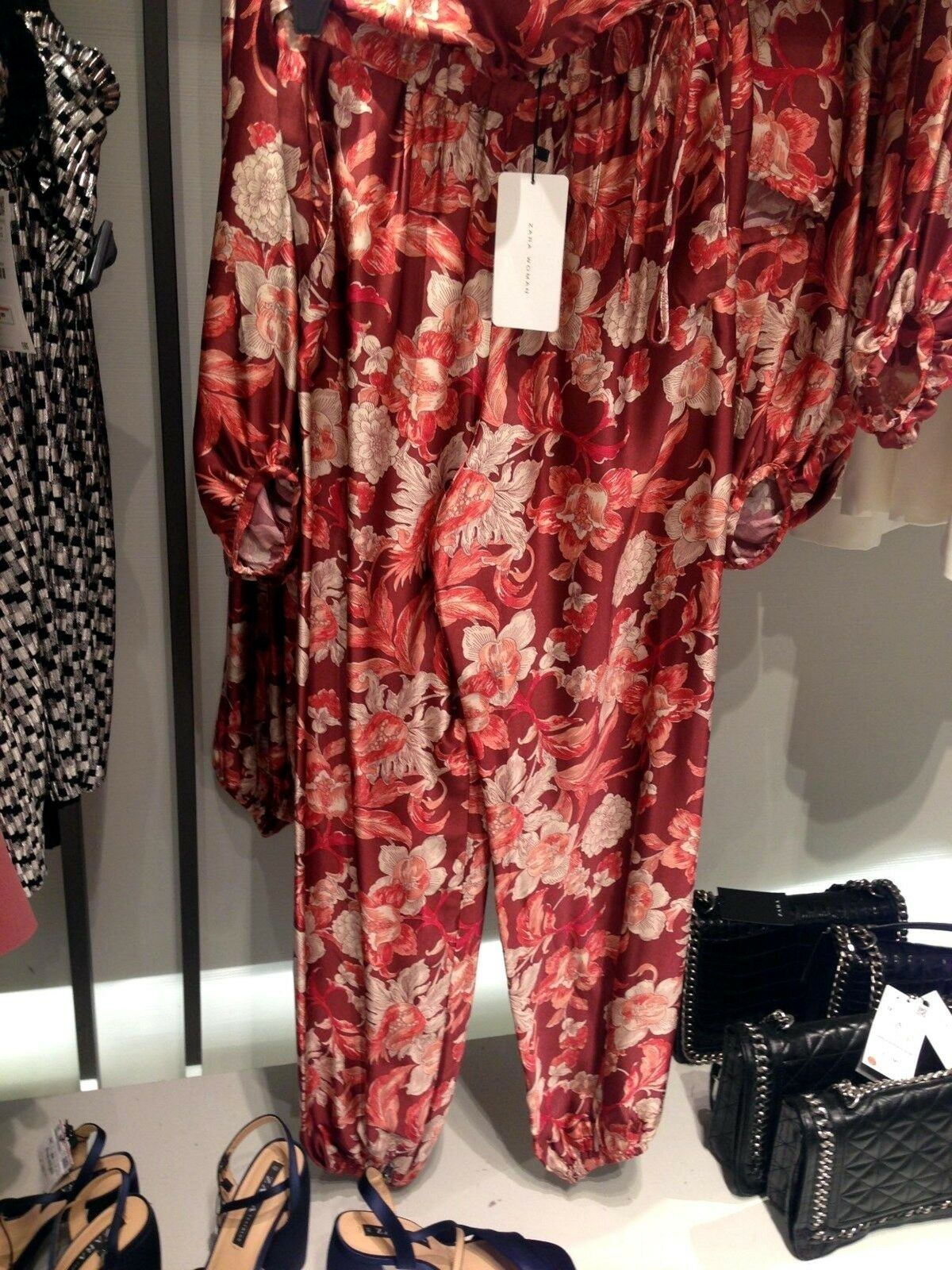 ZARA FLORAL PRINT VOLUMINOUS VOLUMINOUS VOLUMINOUS TOP & TROUSERS CO-ORD 2 PCS SET M 10 US 75df6c