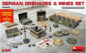 Miniart-35258-1-35-German-Grenades-and-Mines-Set-WWII-Plastic-Model-Kit