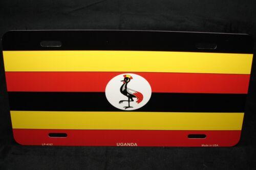 UGANDA FLAG METAL NOVELTY LICENSE PLATE TAG FOR CARS