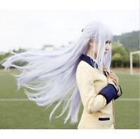 Angel Beats! Tachibana Kanade Silver Gray long straight cosplay Wig synthetic  0
