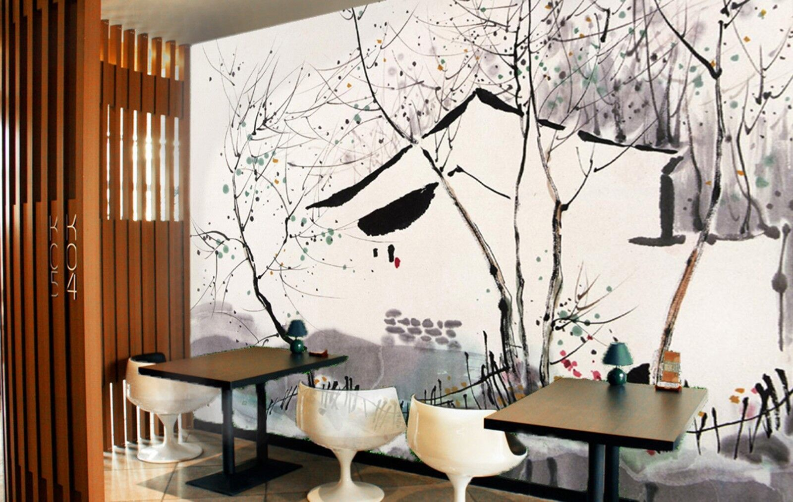 3D Branches Ink painting Wall Paper Print Decal Wall Deco Indoor wall Mural