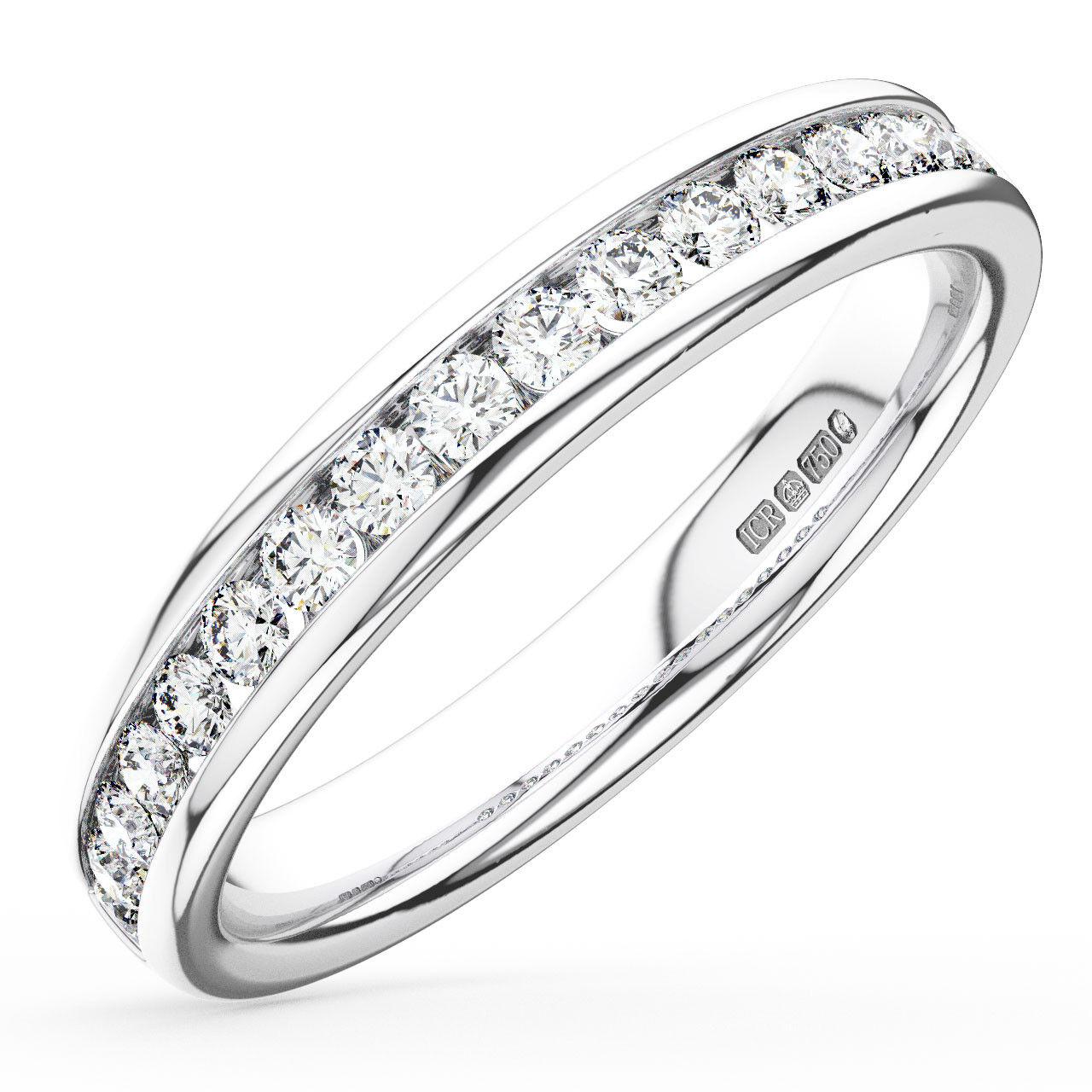 0.35CT Round Brilliant Cut Diamonds Half Eternity Wedding Ring in 9K White gold