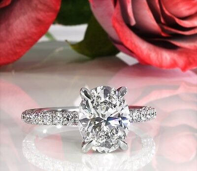 Obedient 2.1ct Oval Brilliant Cut Diamond Solitaire Engagement Ring 18k White Gold Finish Supplement The Vital Energy And Nourish Yin Diamond