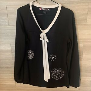 Desigual-Women-s-Sz-L-Black-Long-Sleeve-Blouse-Bow-Neck-Silver-Studs