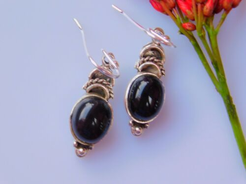Details about  /Ethnic 925 Sterling Silver Fine Artisan Earring With Natural Black Onyx