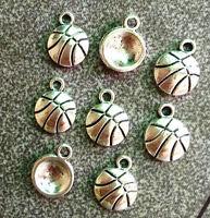 30pcs Tibetan Silver Cute Basketball Sports Charms Pendants Jewelry Beads