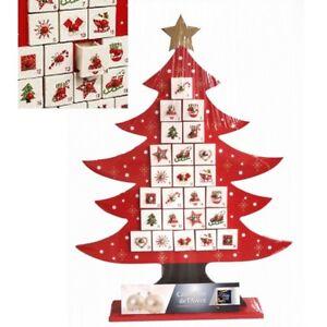 calendrier de l avent en bois 51 x 37 cm forme sapin rouge. Black Bedroom Furniture Sets. Home Design Ideas