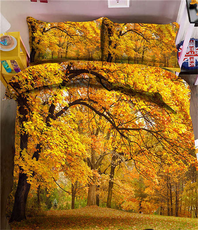 giallo Late Autumn 3D Printing Duvet Quilt Doona Covers Pillow Case Bedding Sets